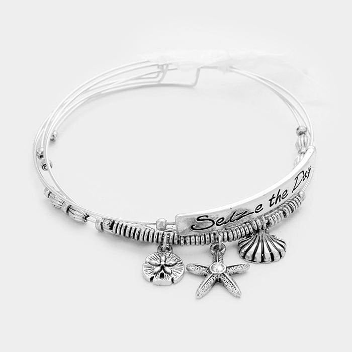 3 Pcs. Seize The Day Starfish & Sand Dollar Charm Wire Bracelets - Silver - Jewelry