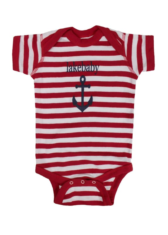 Lakegirl Lakebaby Onesie - Red Stripes / 12 Months - Apparel