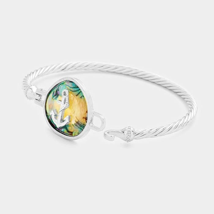 Abalone Metal Anchor Hook Bracelet - Jewelry