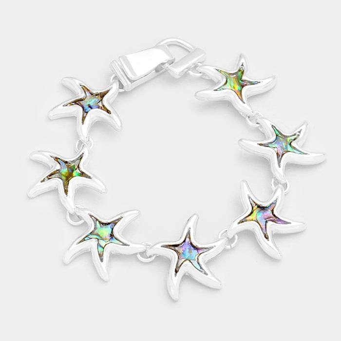 Abalone Starfish Link Magnetic Bracelet - Silver - Jewelry