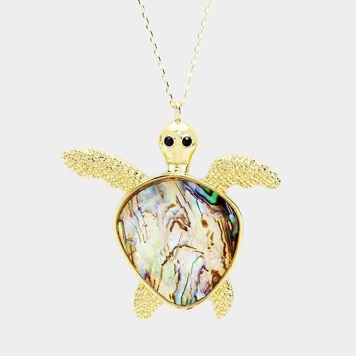 Abalone Turtle Pendant Long Necklace - Abalone / Gold - Jewelry
