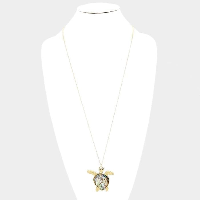Abalone Turtle Pendant Long Necklace - Jewelry