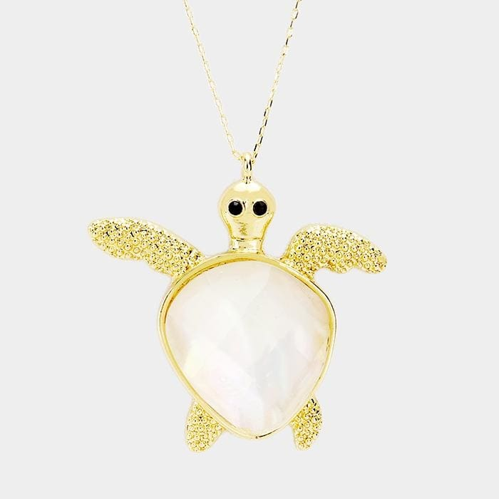 Abalone Turtle Pendant Long Necklace - Mother Of Pearl / Gold - Jewelry