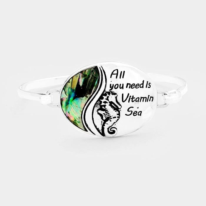 All You Need Is Vitamin Sea Abalone Seahorse Oval Hook Bracelet - Antique Silver - Jewelry
