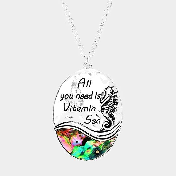 All You Need Is Vitamin Sea Abalone Seahorse Pendant Necklace - Antique Silver - Jewelry