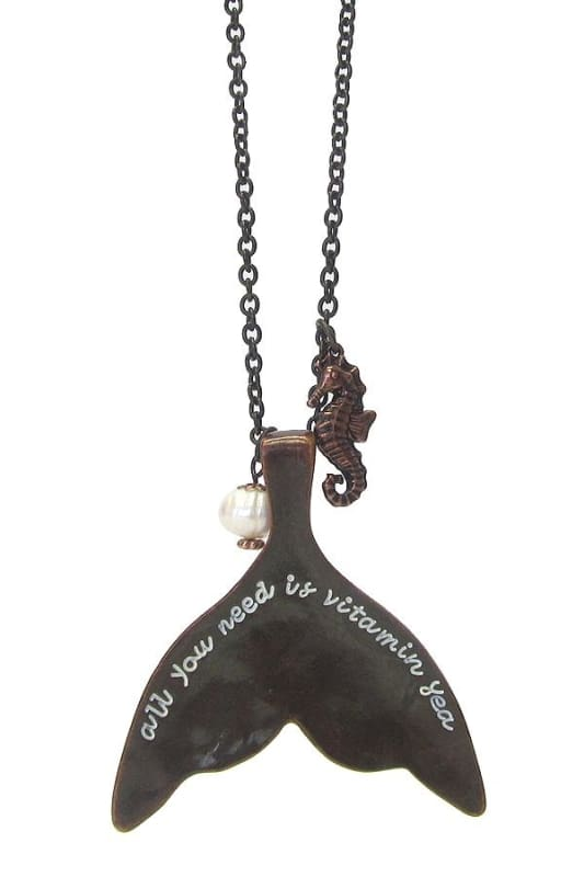 All You Need Is Vitamin Sea Message On Mermaid Tail & Sea Horse Long Necklace - Bronze - Jewelry