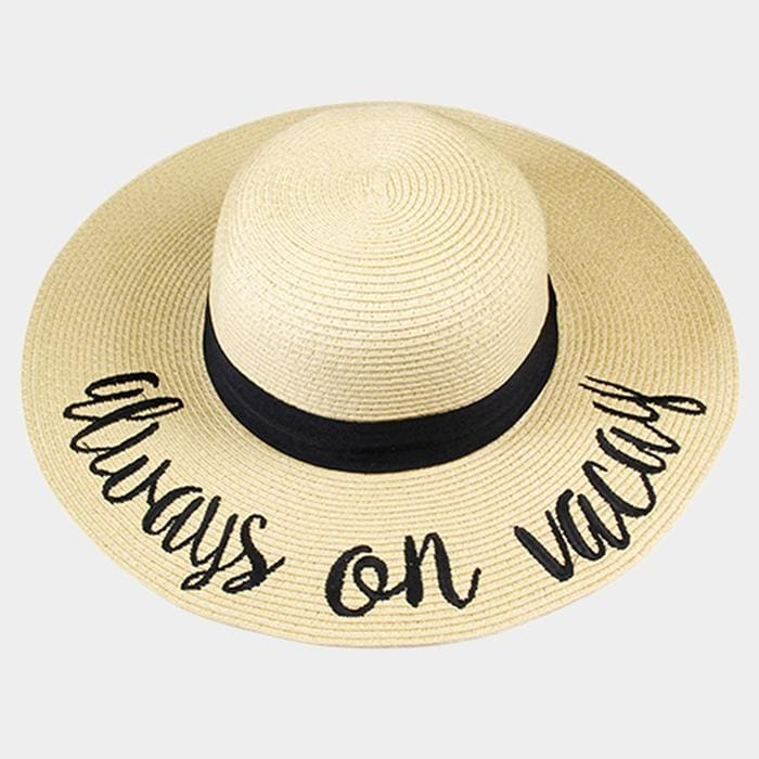 Always On Vacay Embroidered Straw Floppy Sun Hat - Beige - Hats