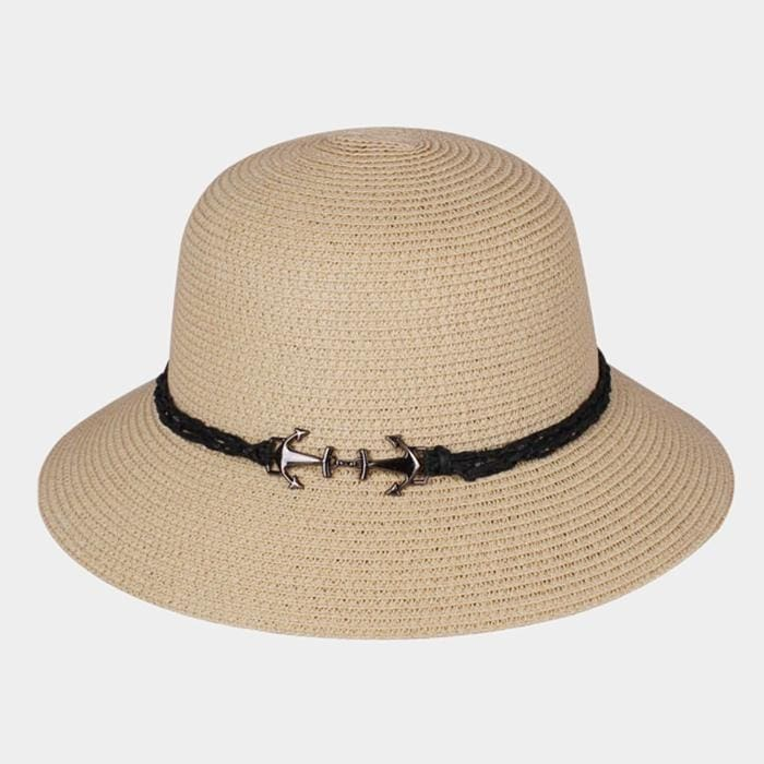 Anchor Brim Straw Sun Hat - Beige - Hats