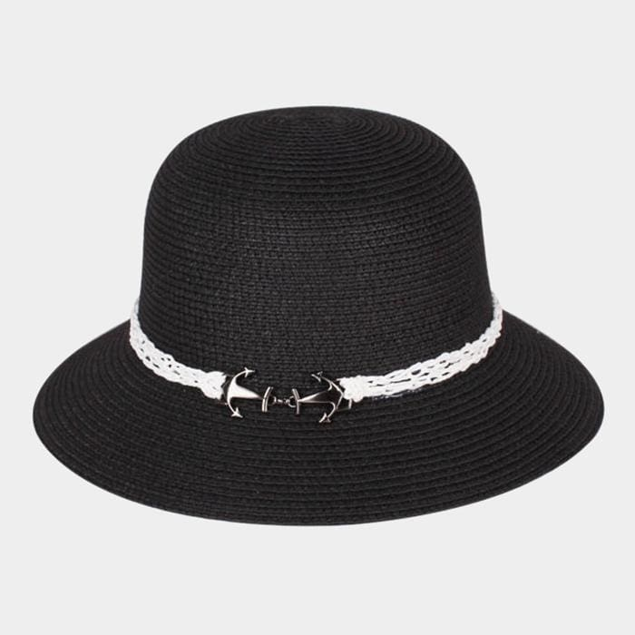 Anchor Brim Straw Sun Hat - Black - Hats