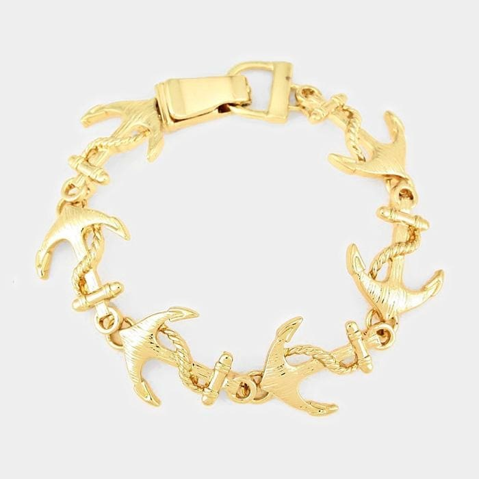 Anchor Link Magnetic Bracelet - Gold - Jewelry