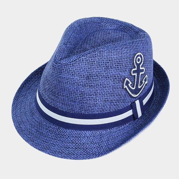 Anchor Patch Detailed Striped Trim Straw Hat - Navy - Hats