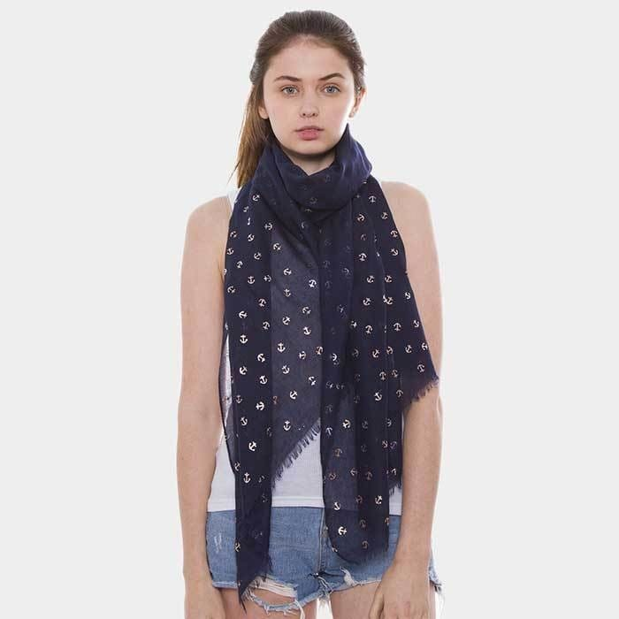 Anchor Pattern Oblong Scarf - Apparel