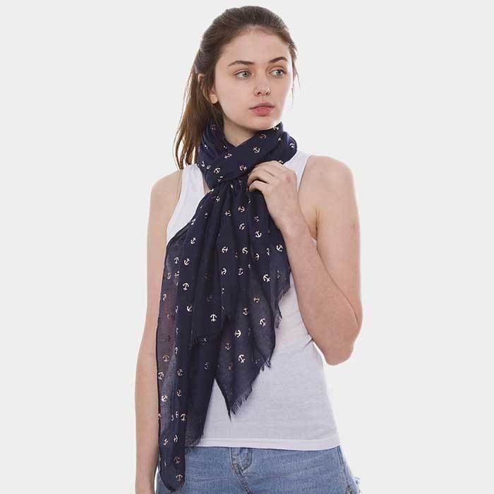Anchor Pattern Oblong Scarf - Navy - Apparel