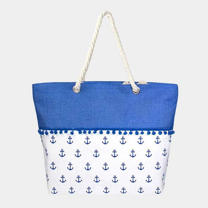 Anchor Pattern Print Tiny Pom Pom Tote Bag - Navy - Hand Bags