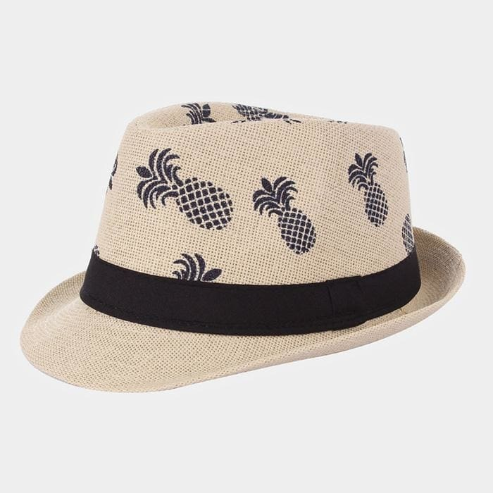 Anchor Patterned Straw Fedors - Beige / Pineapples - Hats