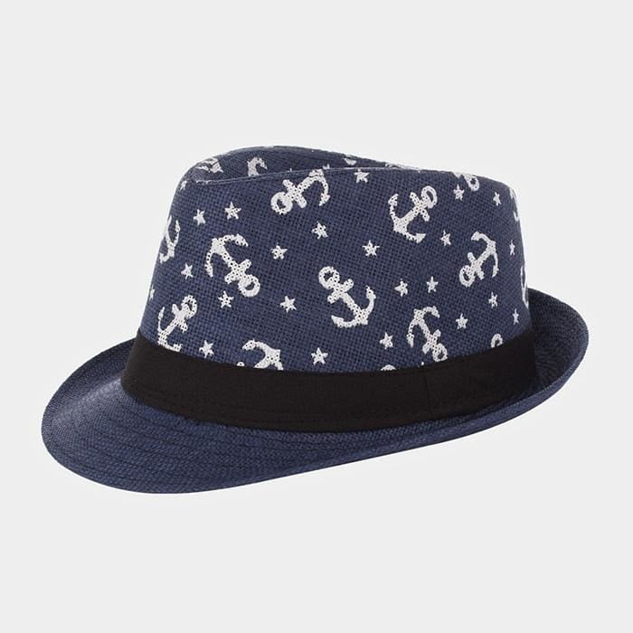 Anchor Patterned Straw Fedors - Navy / Anchors - Hats
