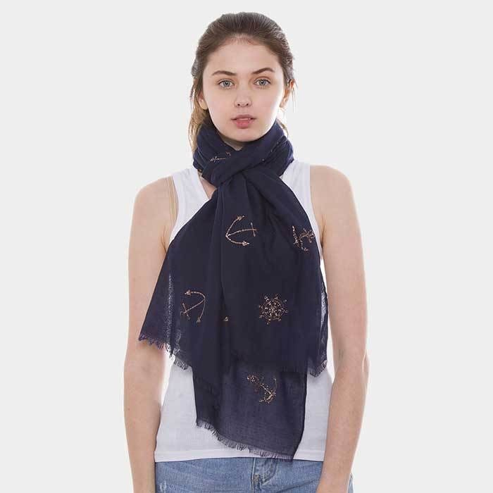 Anchor Ship Wheel Pattern Oblong Scarf - Accessories