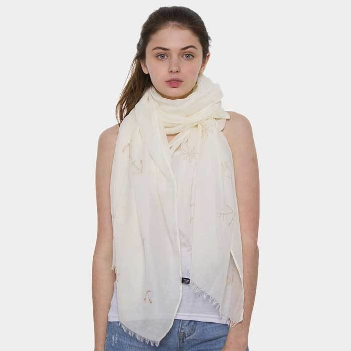 Anchor Ship Wheel Pattern Oblong Scarf - Beige - Accessories