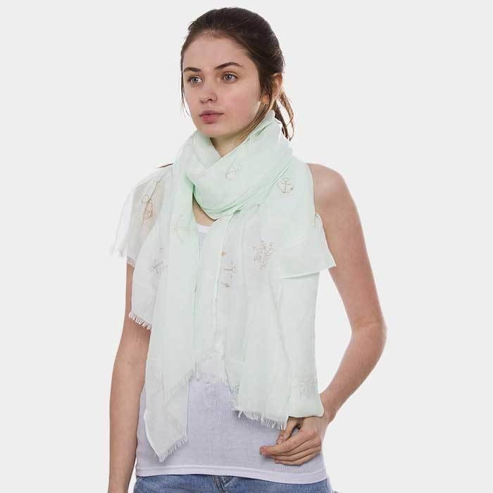 Anchor Ship Wheel Pattern Oblong Scarf - Mint - Accessories