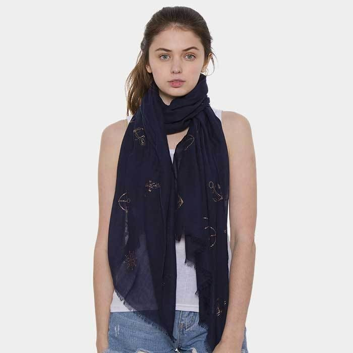 Anchor Ship Wheel Pattern Oblong Scarf - Navy - Accessories