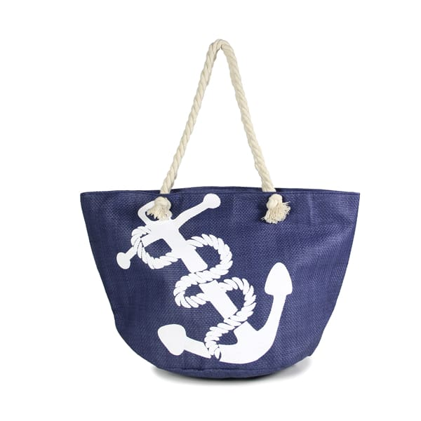 Anchor Straw Rope Tote - Navy - Hand Bag