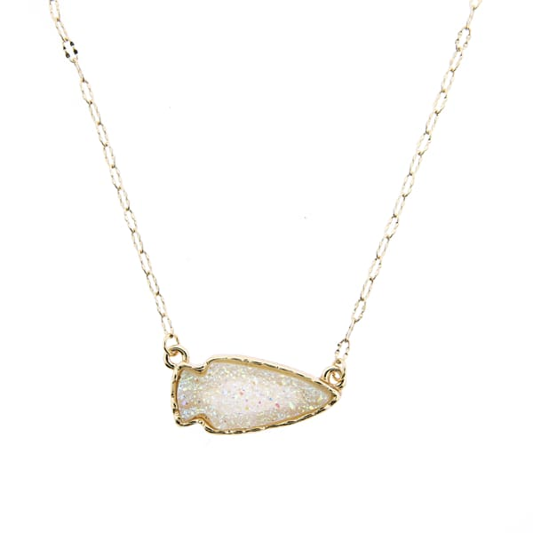Arrowhead Necklace Pendant - Gold/white - Jewelry