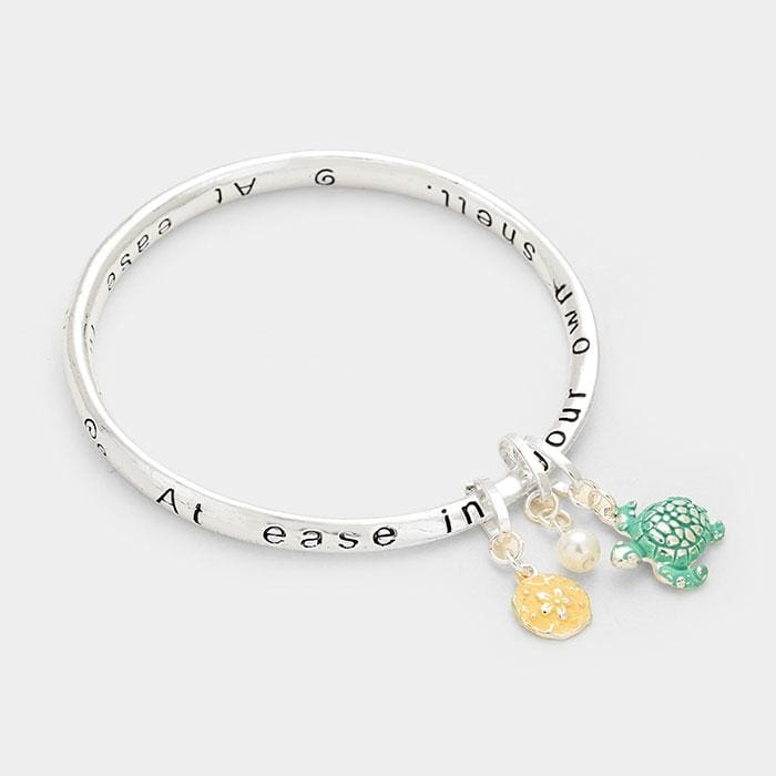At Ease In Your Own Shell Message Bracelet - Jewelry