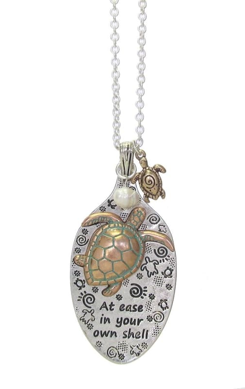 At Ease In Your Own Shell Turtle & Spoon Head Pendant Necklace - Silver - Jewelry