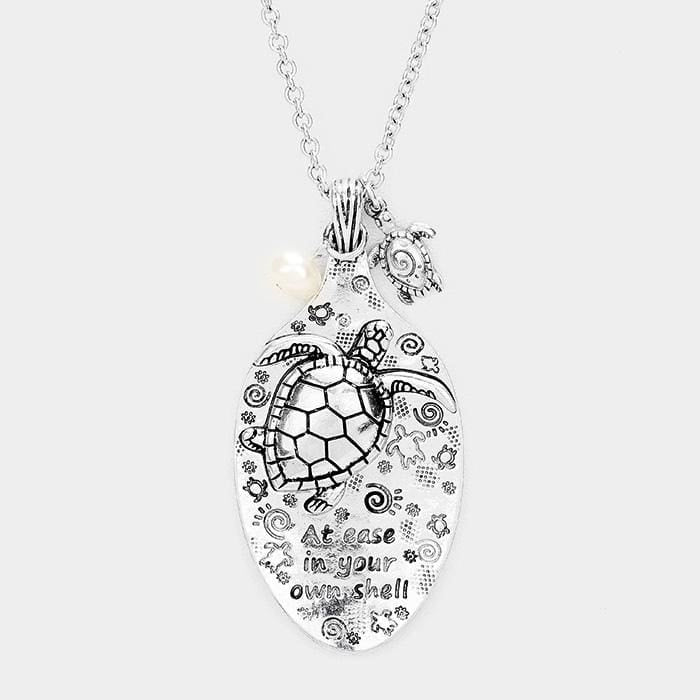 At Ease In Your Own Shell Turtle Spoon Pendant Necklace - Silver Burnish - Jewelry