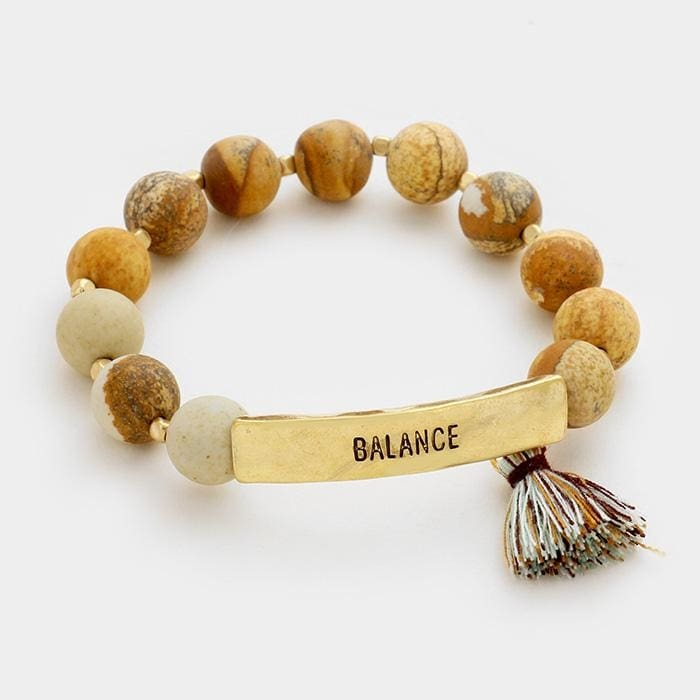 Balance Semi Precious Beaded Stretch Bracelet W/tassel Charm - Default - Jewelry