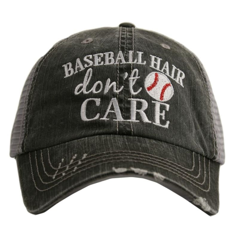 Baseball Hair Dont Care Hat - Gray - Hats