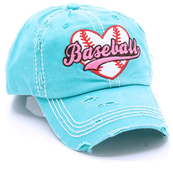 Baseball Heart Hat - Turquoise - Hats