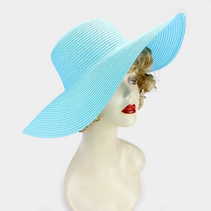 Basic Paper Straw Floppy Sun Hat - Aqua - Hats