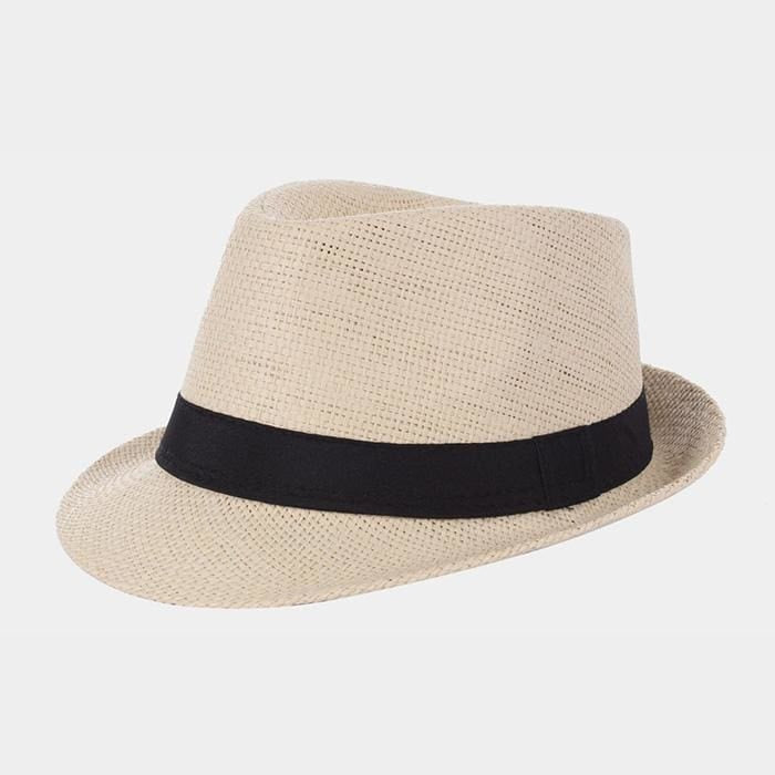 Basic Straw Fedora - Beige / Default - Hats
