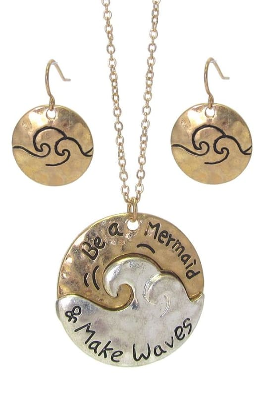 Be A Mermaid And Make Waves Sea Life Pendant Necklace Set - Worn Gold/worn Silver - Necklace & Earring Sets