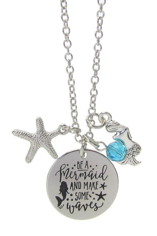Be A Mermaid Make Some Waves Pendant Necklace - Silver - Jewelry