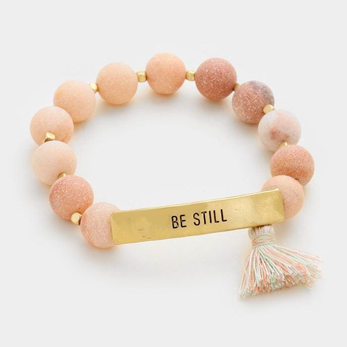 Be Still Semi Precious Beaded Stretch Bracelet W/ Tassel Charm - Pink - Jewelry