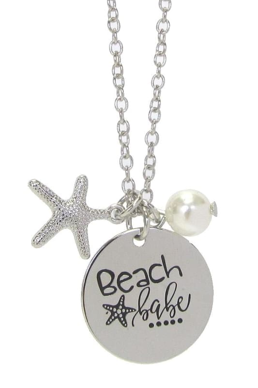 Beach Babe Pendant Necklace - Silver - Jewelry