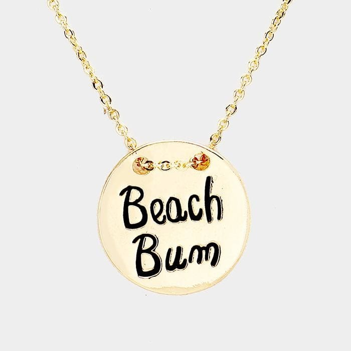 Beach Bum Engraved Palm Tree Metal Disc Pendant Necklace - Antique Gold - Jewelry