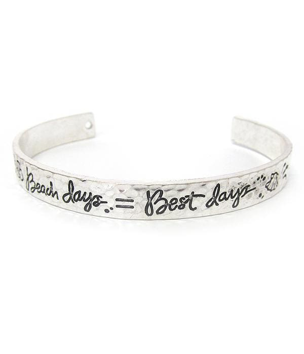 Beach Days = Best Days Sea Life Bangle Bracelet - Worn Silver - Bracelets