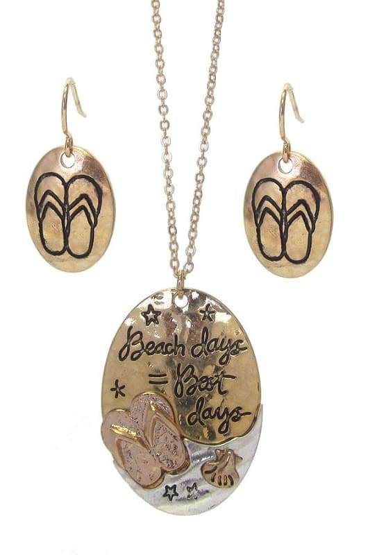 Beach Days = Best Days Sea Life Pendant Necklace Set - Worn Gold/worn Silver - Necklace & Earring Sets