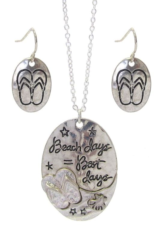 Beach Days = Best Days Sea Life Pendant Necklace Set - Worn Silver - Necklace & Earring Sets