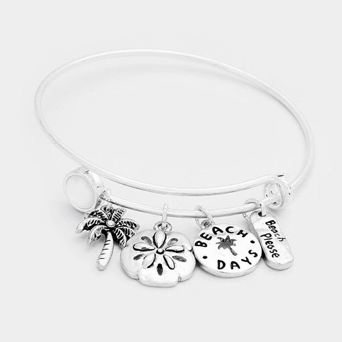 Beach Days Palm Tree Sand Dollar Charms Hook Bracelet - Silver - Jewelry