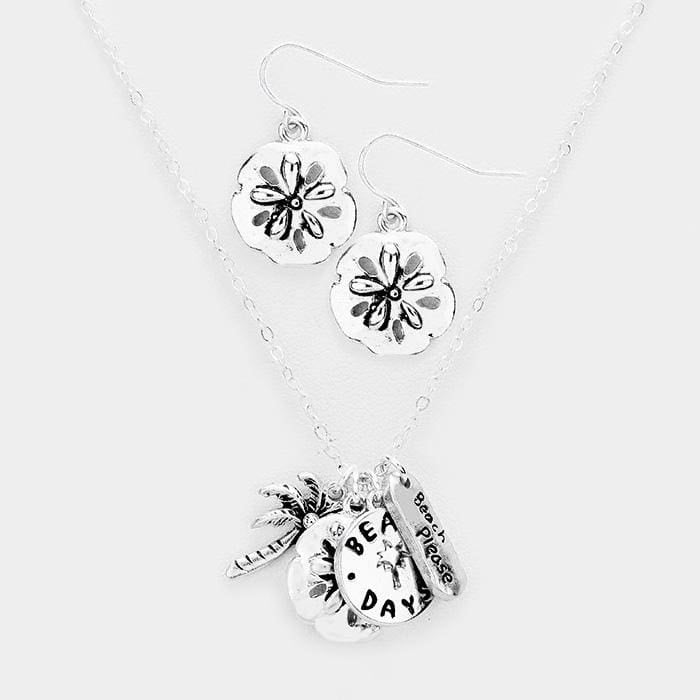 Beach Days Palm Tree Sand Dollar Pendants Necklace - Antique Silver - Jewelry