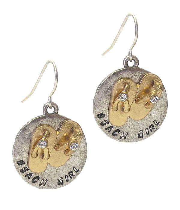 Beach Girl Flip Flop Earrings - Worn Silver/worn Gold - Earrings