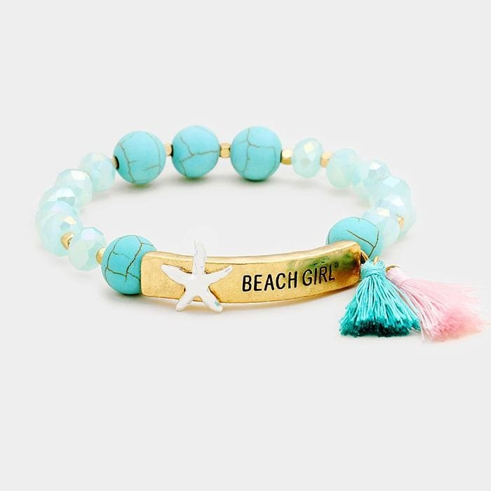 Beach Girl Metal Bar Double Tassel Charms Stretch Bracelet - Turquoise/worn Gold/worn Silver - Jewelry