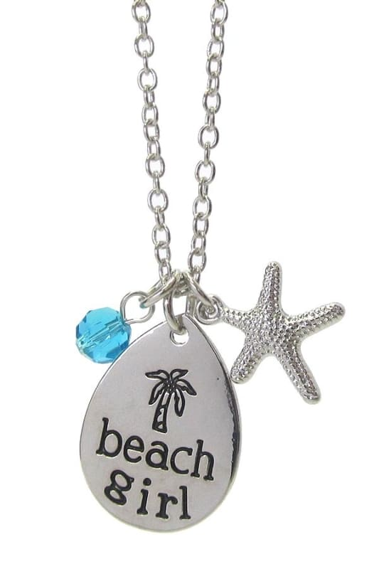 Beach Girl Pendant Necklace - Silver - Jewelry
