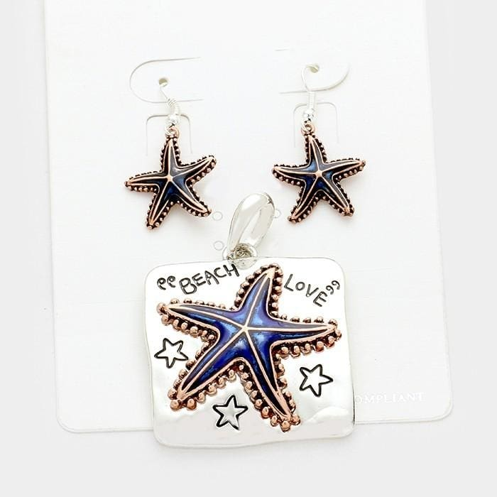 Beach Love Starfish Pendant Set - Blue/copper/silver - Jewelry