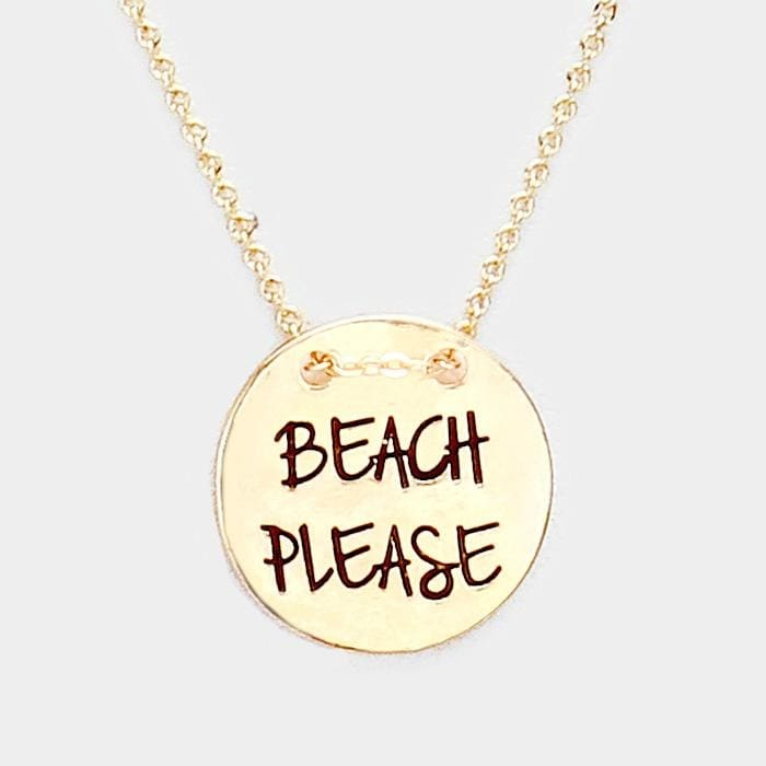 Beach Please Engraved Sand Dollar Metal Disc Necklace - Antique Gold - Jewelry