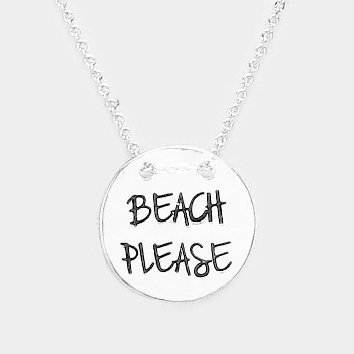 Beach Please Engraved Sand Dollar Metal Disc Necklace - Antique Silver - Jewelry